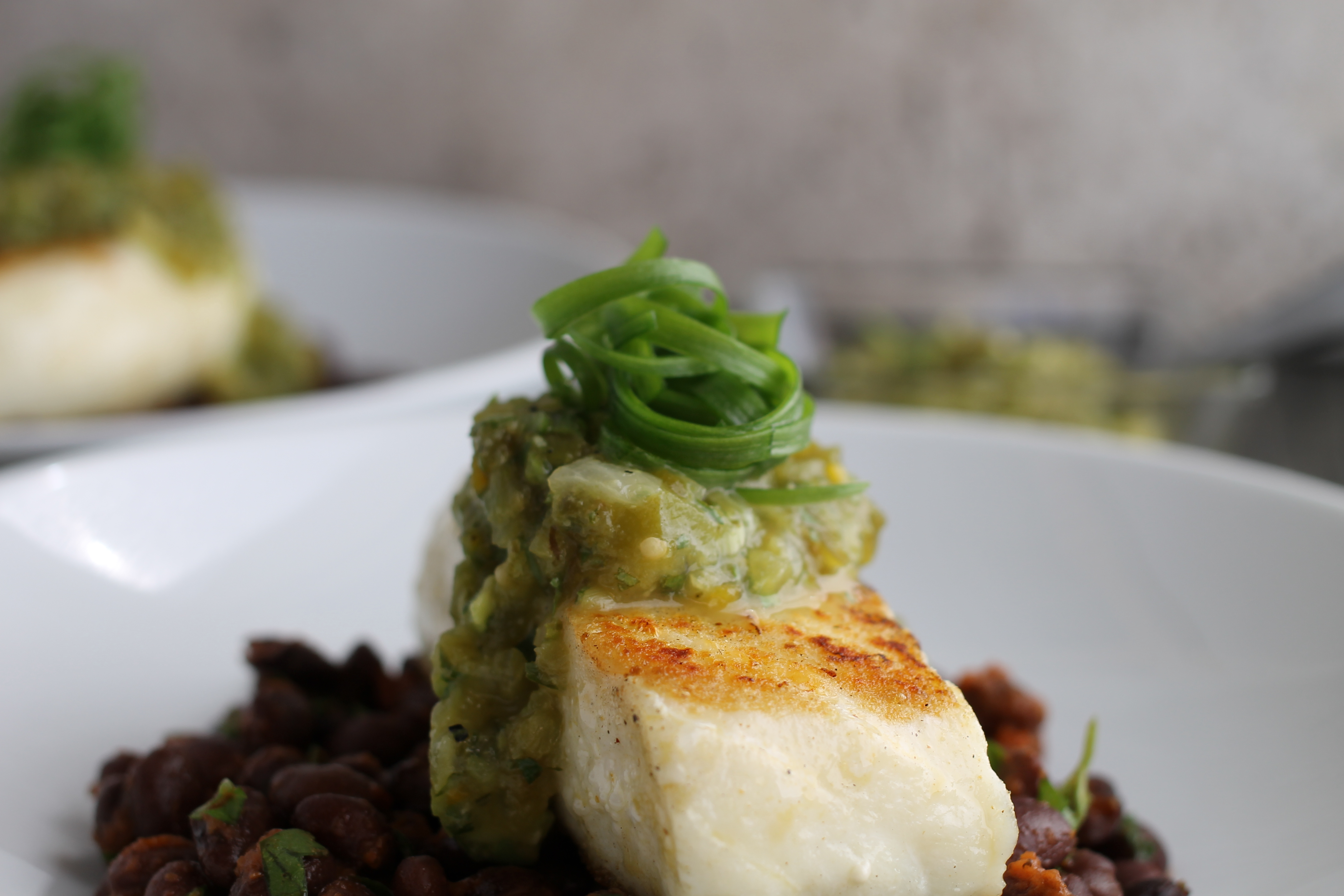 grilled pacific halibut with hatch pepper and avocado salsa verde |